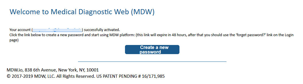 Link to set password