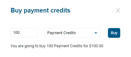 The Buy payment credits form